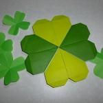 折り紙で四つ葉のクローバーの折り方、切り紙や一枚折りも