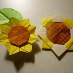 折り紙でひまわり 簡単な折り方と立体的なものや葉っぱも